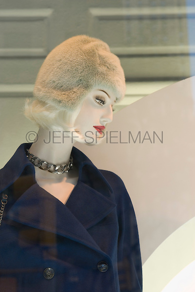 Mannequin in Saks Fifth Avenue Department Store Window Display, with Rockefeller Center Reflected in the Background, Fifth Avenue, Midtown Manhattan, New York City, New York State, USA
