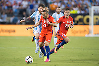 Action photo during the match Argentina vs Chile, Corresponding to Great Final of the America Centenary Cup 2016 at Metlife Stadium, East Rutherford, New Jersey.<br /> <br /> <br /> Foto de accion durante el partido Argentina vs Chile, correspondiente a la Gran Final de la Copa America Centenario 2016 en el  Metlife Stadium, East Rutherford, Nueva Jersey, en la foto: (i-d) Lionel Messi de Argentina y Marcelo Diaz de Chile<br /> <br /> <br /> 26/06/2016/MEXSPORT/Jorge Martinez.