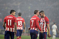Club Atletico de Madrid's Antoine Griezmann, center, celebrates with his teammates Koke, right, and Angel Correa, after scoring his second goal during the UEFA Europa League final football match between Olympique de Marseille and Club Atletico de Madrid at the Groupama Stadium in Decines-Charpieu, near Lyon, France, May 16, 2018. Club Atletico de Madrid won 3-0.<br /> UPDATE IMAGES PRESS/Isabella Bonotto