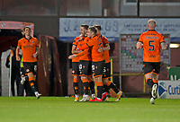 2nd October 2020; Tannadice Park, Dundee, Scotland; Scottish Premiership Football, Dundee United versus Livingston; Nicky Clark of Dundee United is congratulated after scoring for 1-0 in the 18th minute