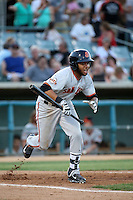 Cristian Paulino (9) of the San Jose Giants bats against the Lancaster JetHawks at The Hanger on August 13, 2016 in Lancaster, California. Lancaster defeated San Jose, 16-2. (Larry Goren/Four Seam Images)