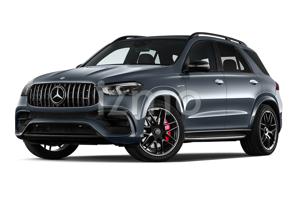 Stock pictures of low aggressive front three quarter view of 2021 Mercedes Benz GLE AMG-63-S 5 Door SUV Low Aggressive
