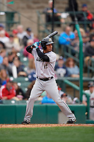 Charlotte Knights Ivan De Jesus Jr. (12) bats during an International League game against the Rochester Red Wings on June 16, 2019 at Frontier Field in Rochester, New York.  Rochester defeated Charlotte 3-2 in the second game of a doubleheader.  (Mike Janes/Four Seam Images)