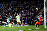Raheem Sterling of Manchester City scores his side's first goal to make the score 1-0 during the UEFA Champions League Group C match between Manchester City and Dinamo Zagreb at the Etihad Stadium on October 1st 2019 in Manchester, England. (Photo by Daniel Chesterton/phcimages.com)<br /> Foto PHC/Insidefoto <br /> ITALY ONLY