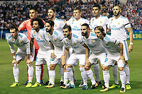 Real Madrid's team photo with Keylor Navas, Sergio Ramos, Toni Kroos, Carlos Henrique Casemiro, Karim Benzema, Gareth Bale, Marcelo Vieira, Isco Alarcon, Nacho Fernandez, Daniel Carvajal and Luka Modric during La Liga match. August 20,2017.  *** Local Caption *** © pixathlon