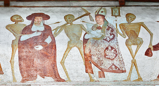 """The Church of San Vigilio in Pinzolo and its fresco paintings """"Dance of Death"""" ( Danza macabra)  painted by Simone Baschenis of Averaria in1539, Pinzolo, Trentino, Italy"""