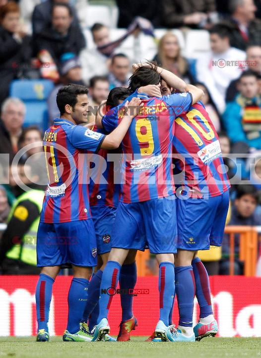 Levante's players celebrate goal during La Liga BBVA match. April 6, 2013.(ALTERPHOTOS/Alconada)
