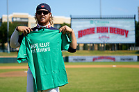 Tommy White (44) poses for photos after winning the Home Run Derby before the Baseball Factory All-Star Classic at Dr. Pepper Ballpark on October 4, 2020 in Frisco, Texas.  Tommy White (44), a resident of St Pete Beach, Florida, attends IMG Academy.  (Ken Murphy/Four Seam Images)