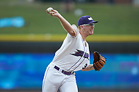 Winston-Salem Dash starting pitcher Jake Elliott (34) makes a pick-off throw to first base during the game against the Lynchburg Hillcats at BB&T Ballpark on August 1, 2019 in Winston-Salem, North Carolina. The Dash defeated the Hillcats 9-7. (Brian Westerholt/Four Seam Images)