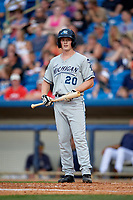 West Michigan Whitecaps left fielder Sam Machonis (20) at bat during the second game of a doubleheader against the Lake County Captains on August 6, 2017 at Classic Park in Eastlake, Ohio.  West Michigan defeated Lake County 9-0.  (Mike Janes/Four Seam Images)