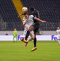 Evan N'Dicka (Eintracht Frankfurt) gegen Valentin Stocker (FC Basel) - 12.03.2020: Eintracht Frankfurt vs. FC Basel, UEFA Europa League, Achtelfinale, Commerzbank Arena<br /> DISCLAIMER: DFL regulations prohibit any use of photographs as image sequences and/or quasi-video.
