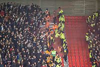 1st October 2021;  Bet365 Stadium, Stoke, Staffordshire, England; EFL Championship football, Stoke City versus West Bromwich Albion; Flares are thrown between fansin the stands