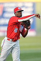 Travis Witherspoon #5 of the Inland Empire 66'ers warms up before a game against the Rancho Cucamonga Quakes at The Epicenter on April 7, 2012 in Rancho Cucamonga,California. Rancho Cucamonga defeated Inland Empire 5-4.(Larry Goren/Four Seam Images)