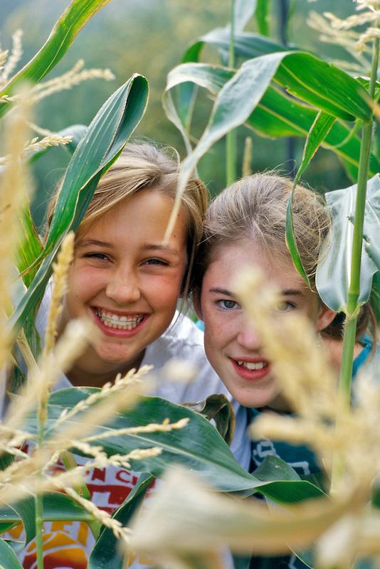 Teenage girls in corn field. Near Alpine, Oregon.