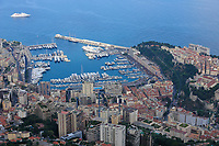 "View on the Principality of Monaco, Mediterranean Sea. The photo shows La Condamine ward. The right side of the picture shows Monaco-Ville ward with the Palace (in French, ""Le Rocher""). Monaco is the second smallest country in the world after Vatican City. Monte Carlo is the principal residential and resort area with the casino in the east and northeast. La Condamine is another ward with the second harbour: Port Nikolas Flores., Mediterranean Sea, Atlantic Ocean"