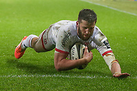 Saturday 15th February 2020 | Ospreys vs Ulster Rugby<br /> <br /> Stuart McCloskey scores thew third Ulster try during the PRO14 Round 11 clash between the Ospreys and Ulster Rugby at the Liberty Stadium, Swansea, Wales. Photo by John Dickson/DICKSONDIGITAL