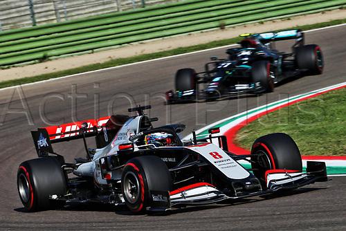 31st October 2020, Imola, Italy; FIA Formula 1 Grand Prix Emilia Romagna, Free Practise sessions;  8 Romain Grosjean FRA, Haas F1 Team followed by Valtteri Bottas. Mercedes team