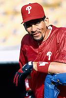 Benito Santiago of the Philadelphia Phillies at Dodger Stadium in Los Angeles,California during the 1996 season. (Larry Goren/Four Seam Images)