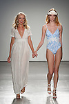Fashion designer Jessica Williamson walks runway with model at the close of her Ete Swimwear Spring Summer 2017 collection runway show for the Fashion Palette Austrialian Swim Resort Spring Summer 2017 fashion show on September 8, 2016.