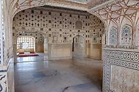 Jaipur, Rajasthan, India.  Sheesh Mahal (Hall of Mirrors), Jai Mandir, Amber (or Amer) Palace, near Jaipur.