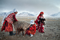 Girls and women bringing the lambs to their mum for feeding. Goat and sheep herd returning in the evening. At the Andemin camp...Trekking through the high altitude plateau of the Little Pamir mountains, where the Afghan Kyrgyz community live all year, on the borders of China, Tajikistan and Pakistan.