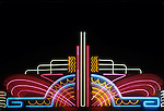 Neon art deco movie marquee at the Nuart Theater in Los Angeles, CA