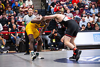 STANFORD, CA - March 7, 2020: Jacori Teemer of Arizona State University and Tyler Eischens of Stanford during the 2020 Pac-12 Wrestling Championships at Maples Pavilion.