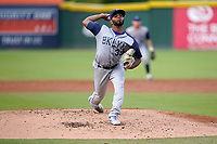 Pitcher Jason Vilera (39) of the Brooklyn Cyclones during a game against the Greenville Drive on Saturday, May 15, 2021, at Fluor Field at the West End in Greenville, South Carolina. (Tom Priddy/Four Seam Images)