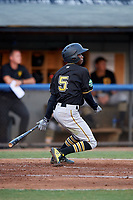 Bristol Pirates shortstop Victor Ngoepe (5) hits an RBI single during a game against the Bluefield Blue Jays on July 26, 2018 at Bowen Field in Bluefield, Virginia.  Bristol defeated Bluefield 7-6.  (Mike Janes/Four Seam Images)