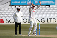 Simon Harmer of Essex celebrates taking the wicket of Brydon Carse during Essex CCC vs Durham CCC, LV Insurance County Championship Group 1 Cricket at The Cloudfm County Ground on 18th April 2021
