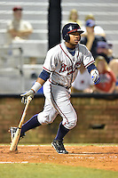 Danville Braves right fielder Jose Morel #19 swings at a pitch during a game against the Johnson City Cardinals at Howard Johnson Field September 4, 2014 in Johnson City, Tennessee. The Braves defeated the Cardinals 6-1. (Tony Farlow/Four Seam Images)