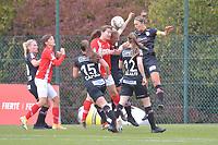 forward Sanne Schoenmakers (8 Standard) , midfielder Lotte De Wilde (19 Zulte-Waregem) , defender Pauline Windels (5 Zulte-Waregem) pictured during a female soccer game between Standard Femina de Liege and Dames SV Zulte Waregem on the fifth matchday of the 2020 - 2021 season of Belgian Scooore Womens Super League , saturday 17 th of October 2020  in Angleur , Belgium . PHOTO SPORTPIX.BE | SPP | STIJN AUDOOREN