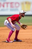 Carolina Mudcats third baseman Lucas Erceg (34) on defense against the Winston-Salem Dash at Five County Stadium on May 14, 2017 in Zebulon, North Carolina.  The Mudcats walked-off the Dash 11-10.  (Brian Westerholt/Four Seam Images)
