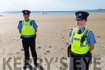 Garda Leanne Houseman and Garda Brian Lynch patrolling Banna Beach on Sunday.