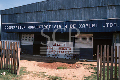 Xapuri, Acre State, Brazil. The Extractive Co-operative warehouse with two bicycles.