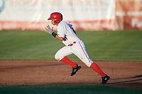 Auburn Doubledays center fielder Ricardo Mendez (17) runs the bases during a game against the Batavia Muckdogs on June 15, 2018 at Falcon Park in Auburn, New York.  Auburn defeated Batavia 5-1.  (Mike Janes/Four Seam Images)