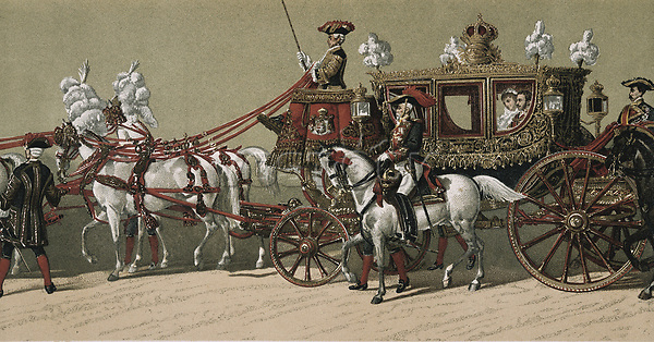 Spain (1879). Weeding of Alfonso XII and María Cristina de Habsburgo. Royal cortège. Litography.
