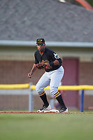 West Virginia Black Bears first baseman Julio De La Cruz (10) waits for a throw during a game against the Batavia Muckdogs on June 26, 2017 at Dwyer Stadium in Batavia, New York.  Batavia defeated West Virginia 1-0 in ten innings.  (Mike Janes/Four Seam Images)