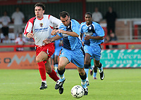Scott McGleish of Wycombe Wanderers tries to outpace Stevenage's Ronnie Henry during Stevenage Borough vs Wycombe Wanderers, Friendly Match Football at Broadhall Way on 25th July 2008