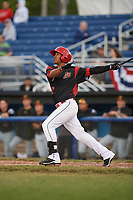 Batavia Muckdogs right fielder Jhonny Santos (13) hits a double in the bottom of the fourth inning during a game against the West Virginia Black Bears on June 26, 2017 at Dwyer Stadium in Batavia, New York.  Batavia defeated West Virginia 1-0 in ten innings.  (Mike Janes/Four Seam Images)