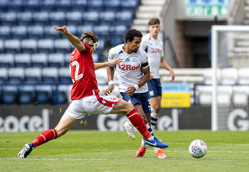 Preston North End's Scott Sinclair (right) competing with Nottingham Forest's Ryan Yates <br /> <br /> Photographer Andrew Kearns/CameraSport<br /> <br /> The EFL Sky Bet Championship - Preston North End v Nottingham Forest - Saturday 11th July 2020 - Deepdale Stadium - Preston <br /> <br /> World Copyright © 2020 CameraSport. All rights reserved. 43 Linden Ave. Countesthorpe. Leicester. England. LE8 5PG - Tel: +44 (0) 116 277 4147 - admin@camerasport.com - www.camerasport.com