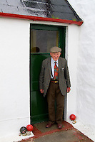 Senior  man age 86 at his isolated farm in Isle of Skye, Scotland.