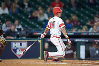 Jonathan Windham (12) of the Louisiana Ragin' Cajuns follows through on his swing against the Mississippi State Bulldogs in game three of the 2018 Shriners Hospitals for Children College Classic at Minute Maid Park on March 2, 2018 in Houston, Texas.  The Bulldogs defeated the Ragin' Cajuns 3-1.   (Brian Westerholt/Four Seam Images)