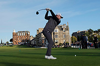 3rd October 2021; The Old Course, St Andrews Links, Fife, Scotland; European Tour, Alfred Dunhill Links Championship, Fourth round; John Murphy of Ireland tees off on the eighteenth hole during the final round of the Alfred Dunhill Links Championship on the Old Course, St Andrews