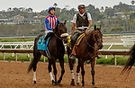 DEL MAR, CA  JULY 24: #9 Madone, ridden by Juan Hernandez, in the post parade before the San Clemente Stakes (Grade ll) on July 24, 2021 at Del Mar Thoroughbred Club in Del Mar, CA  (Photo by Casey Phillips/Eclipse lSportswire/CSM)