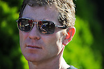 Celebrity Chef Bobby Flay watches morning workouts at Belmont Park in Elmont, New York on June 8, 2012 in preparation for the Belmont Stakes