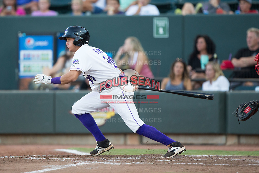 Bryant Flete (30) of the Winston-Salem Dash follows through on his swing against the Potomac Nationals at BB&T Ballpark on August 5, 2017 in Winston-Salem, North Carolina.  The Dash defeated the Nationals 6-0.  (Brian Westerholt/Four Seam Images)