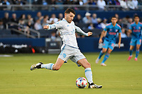 KANSAS CITY, KS - MAY 29: Ilie Sanchez #6 Sporting KC passes the ball during a game between Houston Dynamo and Sporting Kansas City at Children's Mercy Park on May 29, 2021 in Kansas City, Kansas.