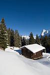 CHE, Schweiz, Kanton Bern, Berner Oberland, Muerren: Almhuette, Skipiste und Eiger (3.970 m) | CHE, Switzerland, Canton Bern, Bernese Oberland, Muerren: ski area, hut and Eiger (3.970 m) mountain with Eiger North Face