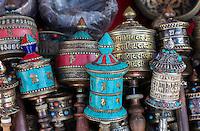 Nepal, Kathmandu, Swayambhunath.  Tibetan Buddhist Prayer Wheels (Mani-wheels).